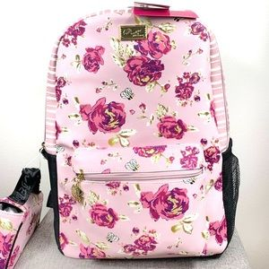 NWT. Betsey Johnson backpack & lunch bag w/roses